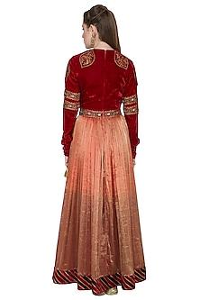 Red Embellished Anarkali Set by Diva'ni