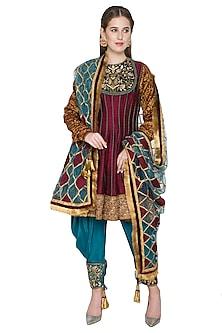 Maroon & Firoza Embroidered Anarkali Set by Diva'ni