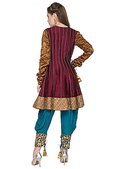 Maroon & Firoza Embroidered Anarkali Set by Diva'ni