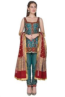 Turquoise Zardosi Embroidered Kurta Set by Diva'ni