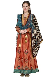 Red Zardosi Embroidered Anarkali With Dupatta by Diva'ni