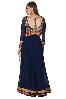 Cobalt Blue Vintage Rose Zardosi Embroidered Anarkali Set by Diva'ni
