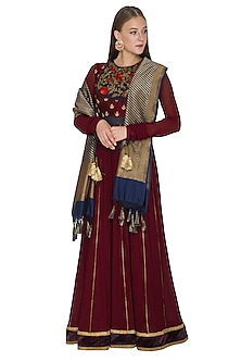 Maroon Vintage Rose Embroidered Anarkali Set by Diva'ni