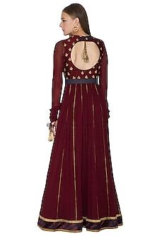 Maroon Vintage Rose Embroidered Anarkali Set by Diva'ni