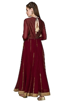 Maroon Vintage Rose Zardosi Embroidered Anarkali Set by Diva'ni