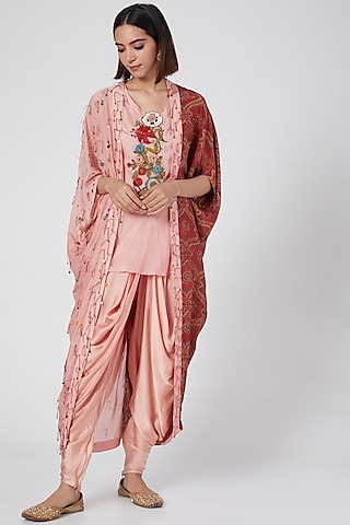 Blush Pink Embellished & Printed Dhoti Set With Cape by Divya Sheth