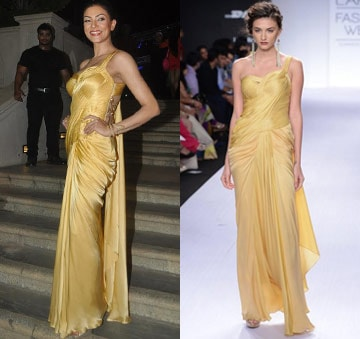 Golden cord sari-gown by Sonaakshi Raaj