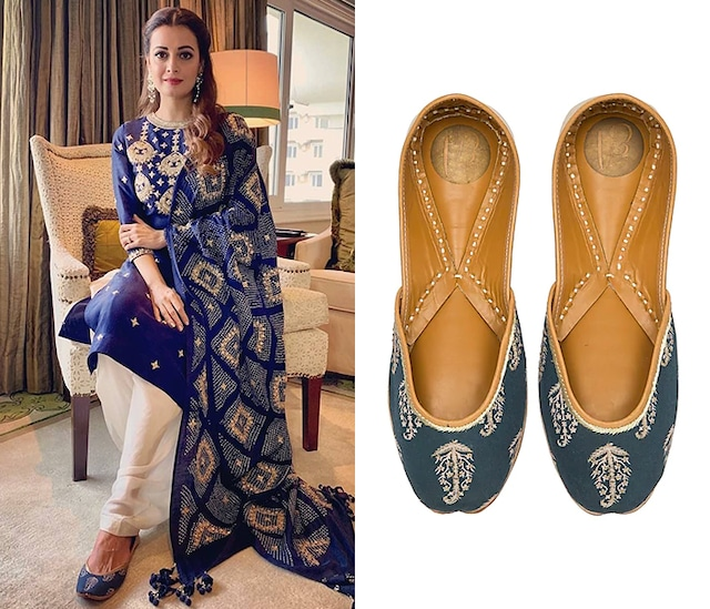 Royal Blue Embroidered Juttis by Vareli Bafna Designs