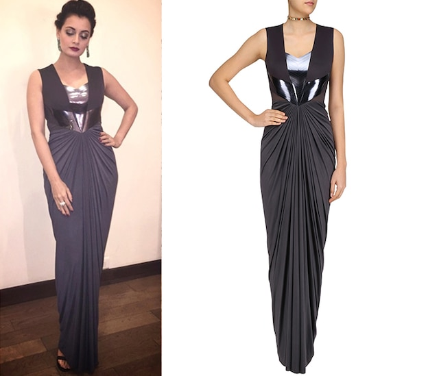 Black Faux Metal Line Pleated Dress by Amit Aggarwal
