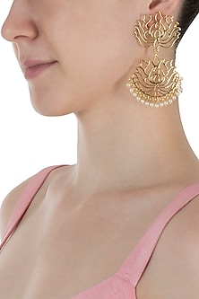 Gold Plated Lotus Earrings by Digna