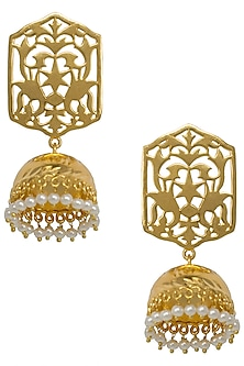 Gold Plated Indian Motif Peacock Earrings by Digna