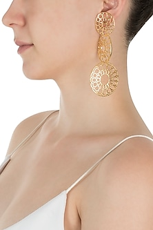 Gold Plated Three Wheel Earrings by Digna