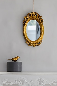 Vintage Oval Mirror In Gold by I Heart Homez