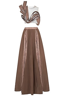 Brown pleated blouse with lehenga skirt by Disha Kahai