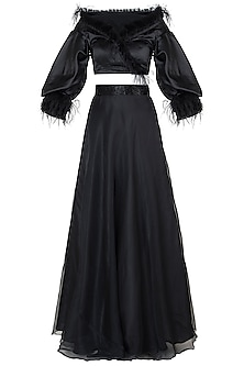 Black embroidered blouse with lehenga skirt by Disha Kahai