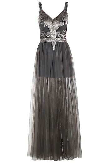 Steel grey embroidered gown by Disha Kahai