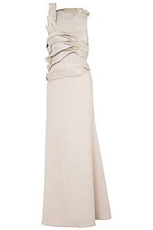 Nude wrinkled gown by Disha Kahai