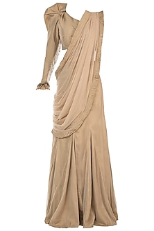 Nude embroidered saree set by Disha Kahai