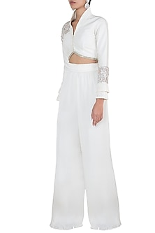 Ivory embroidered jacket with palazzo pants by Disha Kahai