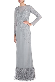 Light grey embroidered gown by Disha Kahai