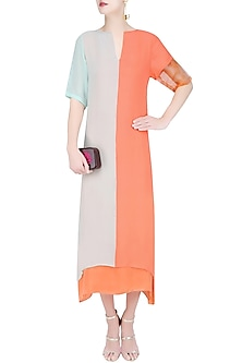 Mint Green and Salmon Colorblock Dress by Diksha Khanna