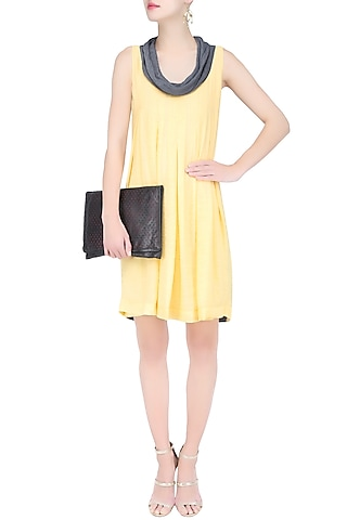 Yellow and Grey Box Pleated Knee Length Dress by Diksha Khanna