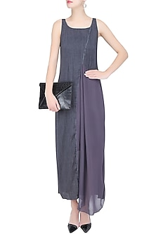 Grey Drape Panelled Long Maxi Dress by Diksha Khanna