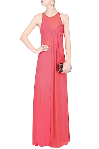 Coral Sheer Inserts and High Slit Maxi Dress by Diksha Khanna