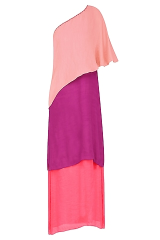 Peach, Wine and Coral Color Block One Shoulder Maxi Dress by Diksha Khanna