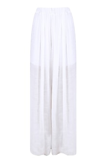 Ivory Box Pleated Trouser Pants by Diksha Khanna