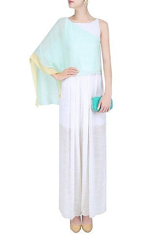 Mint Green and Ivory Extended One Shoulder Crop Top by Diksha Khanna