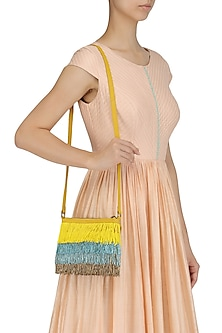 Yellow, Blue and Grey Cutdana Fringes Sling Bag by Diva'ni