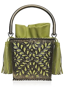 Antique Gold Cutwork Frame Green Bucket Clutch by Diva'ni