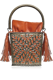 Antique Gold Cutwork Frame Orange Bucket Clutch by Diva'ni