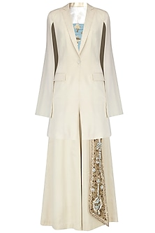 Ivory Cape Sleeves Coat and Embroidered Pants with Blue Bustier by Diva'ni