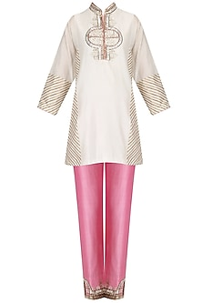 Ivory Embroidered Short Tunic and Pink Pants Set by Diva'ni