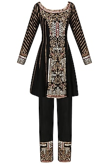 Black Embroidered Short Tunic and Pants Set by Diva'ni