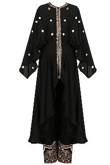 Black and Gold Embroidered High Low Kurta and Pants Set by Diva'ni