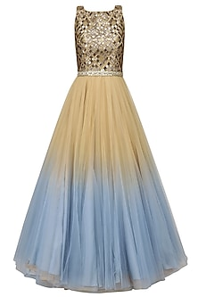 Gold and Blue Ombre Shaded Embroidered Gown by Diva'ni