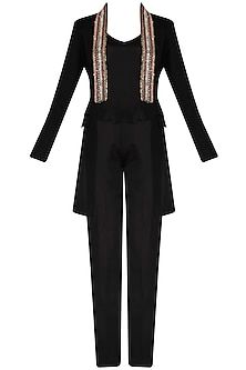 Black Front Open Coat and Pants Set by Diva'ni
