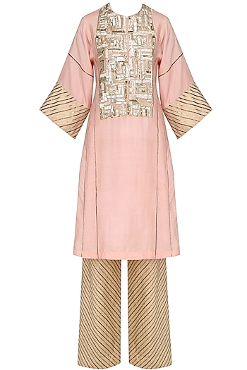 Peach Blade Sequins Embroidered Tunic and Pants Set by Diva'ni