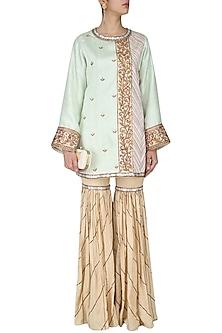 Green Embroidered Kurta and Beige Sharara Pants Set by Diva'ni