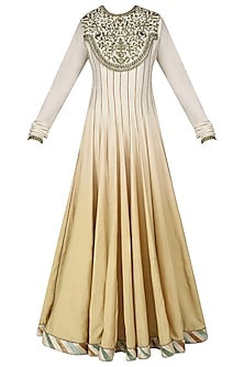 Ivory and Beige Embroidered Ombre Shaded Anarkali Set by Diva'ni