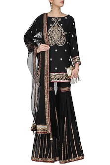 Black and Gold Embroidered Kurta and Sharara Pants Set by Diva'ni
