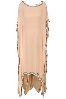 Peach Embroidered Kaftan Drape Dress by Diva'ni