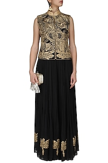 Black and Gold Embroidered Jacket Jumpsuit by Diva'ni