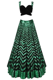Green Sequins Embroidered Lehenga with Black Blouse by Diva'ni