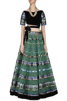 Green Sequins Embroidered Lehenga and Black Blouse Set by Diva'ni