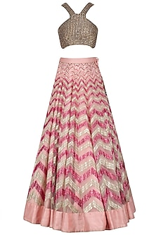Pink and Gold Sequinned Lehenga Skirt by Diva'ni