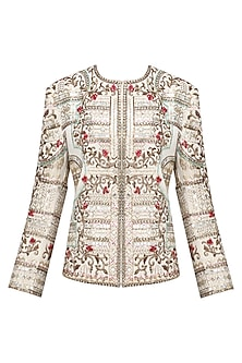 Ivory Zardozi Floral Embroidered Jacket by Diva'ni